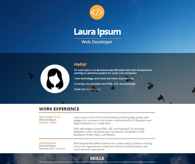 One-page website - Resume