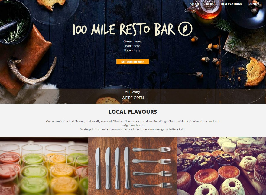 One-page Restaurant Homepage